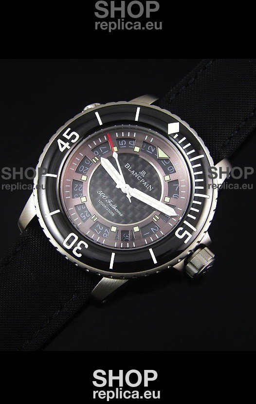 swiss engineered blancpain 500 fathoms swiss replica watch in grey carbon dial 1 1 mirror edition. Black Bedroom Furniture Sets. Home Design Ideas