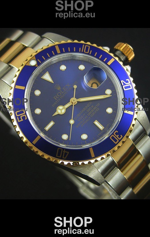 swiss engineered rolex submariner 16613 two tone swiss replica 1 1 watch with swiss 3135 movement. Black Bedroom Furniture Sets. Home Design Ideas