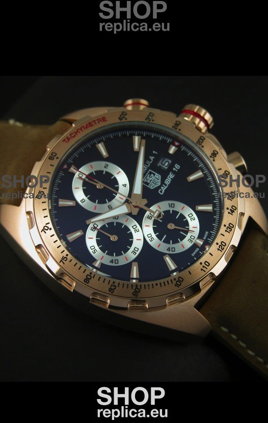 Swiss Engineered Tag Heuer Calibre 16 Rose Gold Watch In