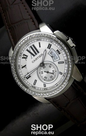 Cartier Calibre de Japanese Replica Watch in White Dial