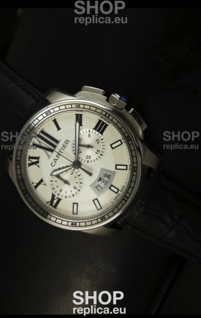 Calibre De Cartier Chronograph Japanese Replica Watch in Steel