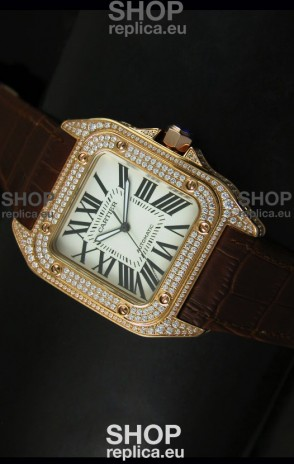 Cartier Santos 100 1:1 Mirror Replica Rose Gold Diamonds Watch 42MM