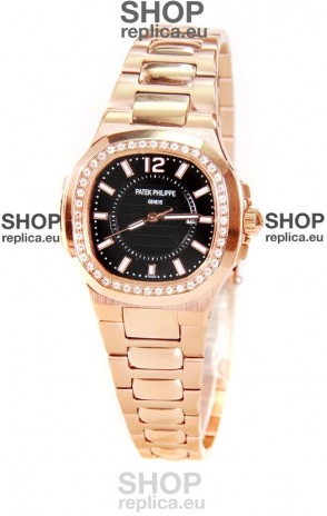 Patek Philippe Nautilus Ladies Replica Pink Gold Watch