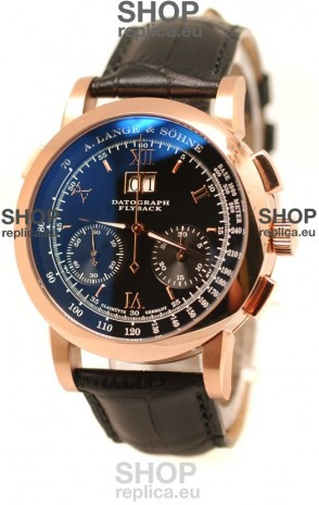 A.Lange & Sohne Datograph Flyback Swiss Replica Rose Gold Watch in Black Dial