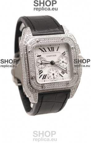 Cartier Santos 100 Swiss Replica Watch with Two Tone Casing