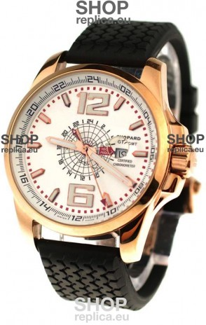 Chopard 1000 Miglia GT XL GMT Japanese Replica Gold Watch in White Dial
