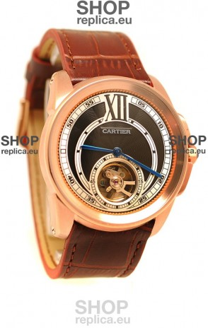 Calibre de Cartier Flying Tourbillon Japanese Replica Rose Gold Watch in Black Dial