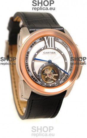 Calibre de Cartier Flying Tourbillon Japanese Replica Rose Gold Watch
