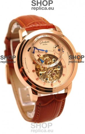 Glashutte Panaomatic Regulator Tourbillon Japanese Replica Pink Gold Watch