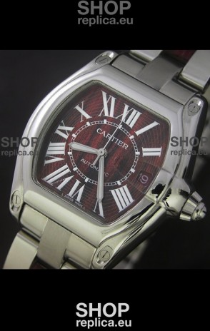 Cartier Roadster Japanese Replica Watch in Red Wine Dial