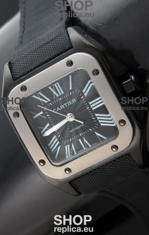 Cartier Santos 100 Japanese Replica Watch with Titanium Bezel