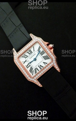 Cartier Santos Dumont Japanese Replica Watch in Pink Gold Casing