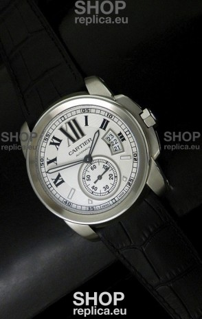 Cartier Calibre de Japanese Replica Steel Watch in Black Leather Strap