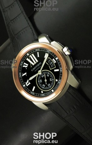 Cartier Calibre de Japanese Replica Rose Gold Watch in Leather Strap
