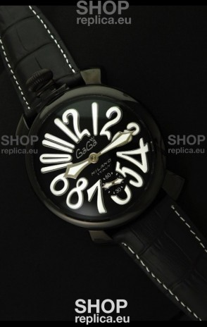 Gaga Milano Italy Japanese Replica PVD Watch in White Markers