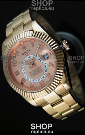 Rolex Sky-Dweller 18K Rose Gold Watch in Salmon Dial Arabic Numerals