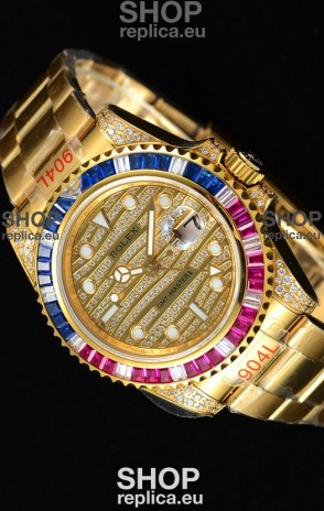 Rolex GMT Masters II Iced out Swiss watch with Yellow Gold 904L Case