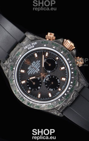 Rolex Daytona DiW Forged Cabon Casing 1:1 Mirror Replica with Black Strap