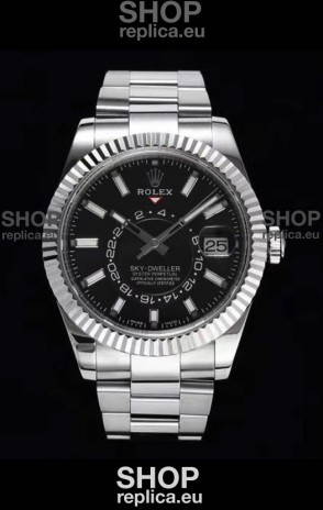 Rolex Sky-Dweller REF# 326934 Black Dial Watch in 904L Steel Case 1:1 Mirror Replica