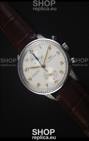 IWC Portuguese Chronograph Stainless Steel with Diamonds 1:1 Mirror Replica Watch