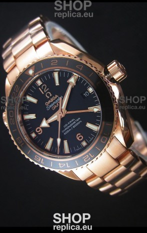 Omega Seamaster Planet Ocean 43.5MM GMT Pink Gold 1:1 Mirror Replica Watch 43.5MM