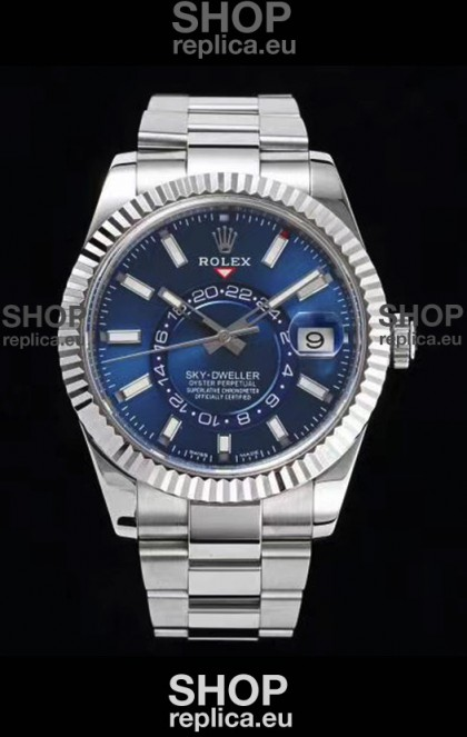 Rolex Sky-Dweller REF# 326934 Blue Dial Watch in 904L Steel Case 1:1 Mirror Replica