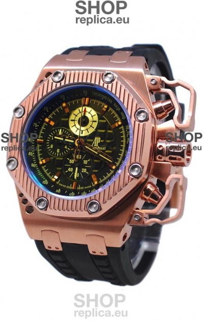 Audemars Piguet Royal Oak Offshore Limited Edition Survivor Rose Gold Watch in Black Dial