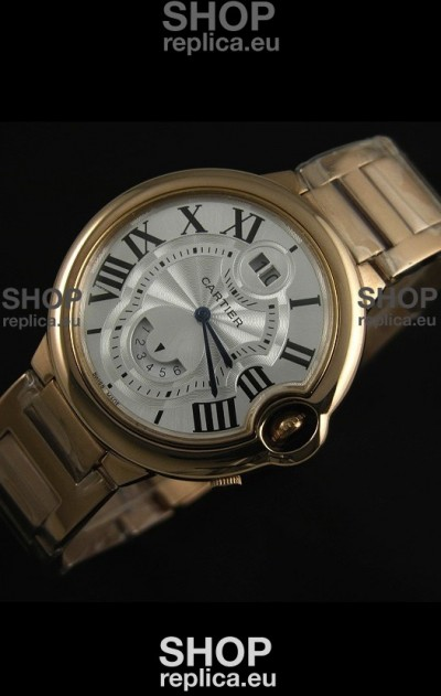 Cartier Ballon Blue de Japanese Replica Watch in Pink Gold Strap