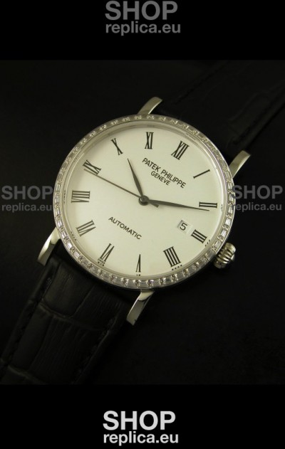 Patek Philippe Calatrava 5120 Swiss Replica Watch in Steel Casing - Roman Hours