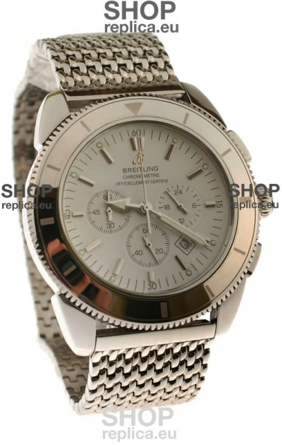 Breitling Chronometre Japanese Replica Watch in White Dial