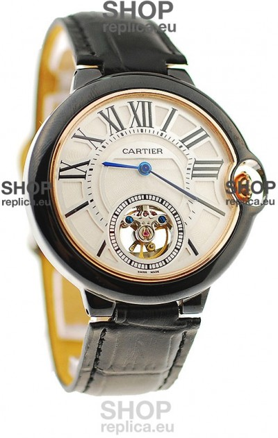 Ballon Bleu De Cartier flying Tourbillon Japanese Replica Watch in White Face