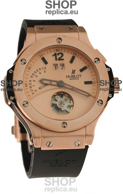 Hublot Big Bang Big Date Power Reserve Japanese Replica Tourbillon Watch in Pink Gold