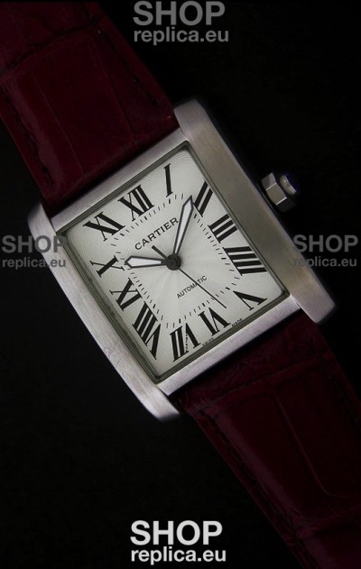 Cartier Tank 100 Japanese Replica Watch in Brown Strap