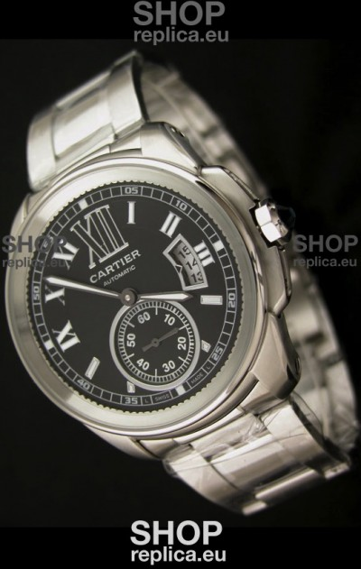 Calibre De Cartier Japanese Automatic Replica Watch in Black Dial