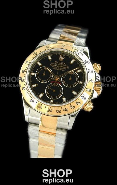 Rolex Oyster Cosmograph Swiss Replica Two Tone Gold Watch in Black Dial