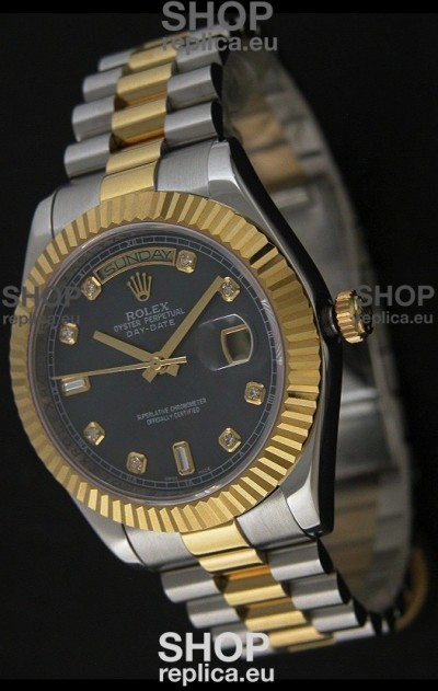Rolex Day Date Just swissReplica Two Tone Gold Watch in Mop Grey Dial