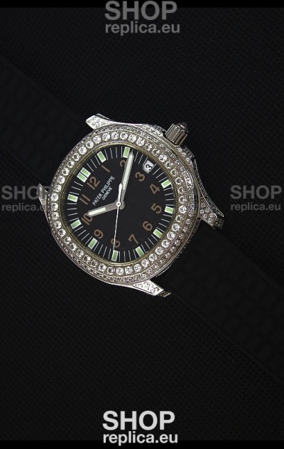 Patek Philippe Aquanaut Swiss Replica Watch with Diamonds Encrusted Casing