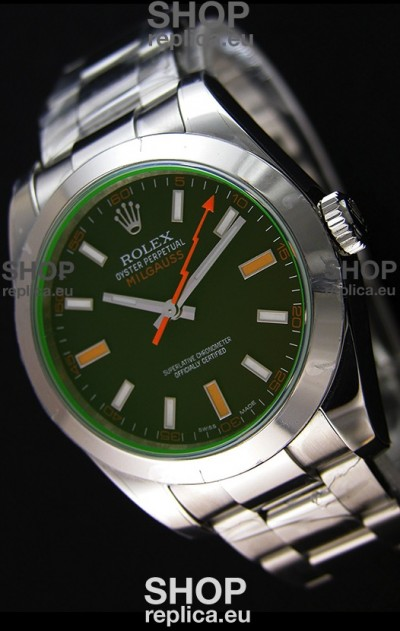 Rolex Milgauss 116400M Swiss Watch with Black Dial - Ultimate 904L Steel Watch