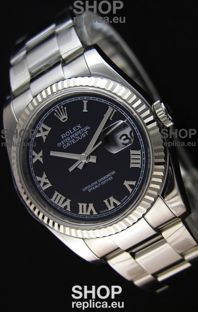 Rolex Datejust 36MM Cal.3135 Movement Swiss Replica Black Dial Oyster Strap - Ultimate 904L Steel Watch