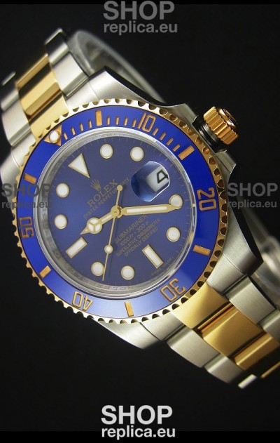 Rolex Submariner 16613 Two Tone Ceramic Bezel Swiss Replica 1:1 Watch with Swiss 3135 Movement