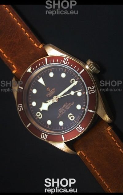 Tudor Heritage Bay Bronze Swiss Replica Watch with Leather Strap